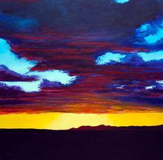 Utah Sunset original acrylic landscape painting by MikeSmithArt, $199.00
