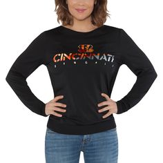 8a27f34fc86 Cincinnati Bengals Touch by Alyssa Milano Women s Breeze Back Long Sleeve T- Shirt - Black