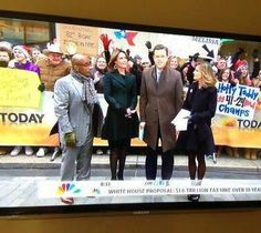 Ole Miss Rebels (in the right corner) representing our Egg Bowl win at the @TODAY show!