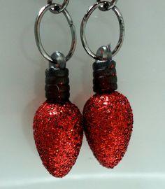 Dangle Earrings Xmas light bulb style by Shabyas on Etsy