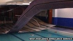 Suspended ceiling collapse in public swimming pool.