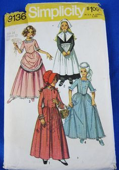 Simplicity Pattern 9136  1970's Girls' Putitan by HoneyBearsCloset, $7.95 Mom made this for me for Sacajawea Festival!