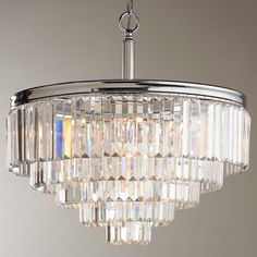 Modern Faceted Glass Layered Chandelier - Convertible chrome