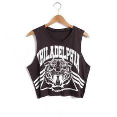 New Girl's Casual cotton Loose vest tops women Tiger Head Philadelphia basic sleeveless top shirt Black Crop Top Tank, Cropped Tank Top, Tank Top Shirt, Crop Tank, White Tank, Cheap Crop Tops, Long Tank Tops, Philadelphia, Goth Grunge