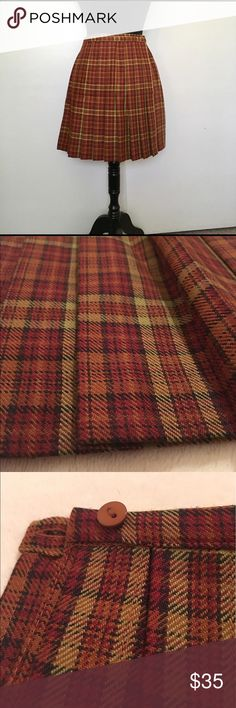 """Vintage, The Limited Plaid Wrap Around Mini Skirt Polyester & Wool Blend. 17"""" in Length. Rust color with brown tones. Pleated in the front. 🌷Does not fit me anymore🌷 The Limited Skirts Mini"""