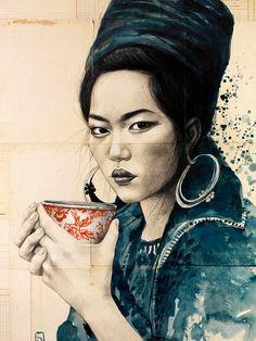 Thee bij de zwarte Hmong van StephanieLedouxArt op Etsy