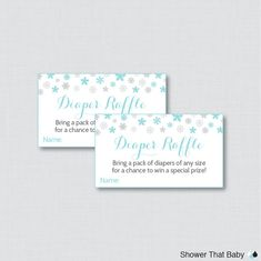 Winter Baby Shower Diaper Raffle Ticket Cards by ShowerThatBaby