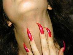 Long Red Nails, Long Fingernails, Long Stiletto Nails, Sexy Nails, Classy Acrylic Nails, Best Acrylic Nails, Curved Nails, Claw Nails, Manicure