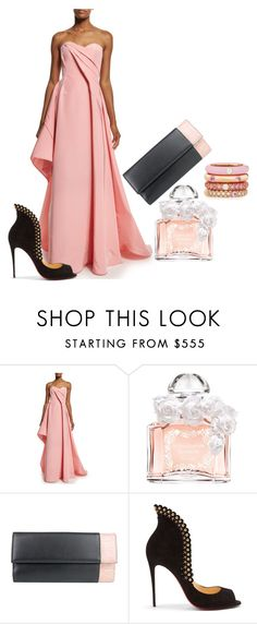 """Lady in Pink"" by danceofthesoul ❤ liked on Polyvore featuring Rubin Singer, Guerlain, Gucci, Christian Louboutin, Adolfo Courrier, Pink, dress, woman, fashionset and danceofthesoul"