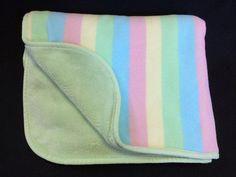 Koala Baby Green Rainbow Stripe Minky Fleece Baby Blanket Blue Pink Yellow #KoalaBaby
