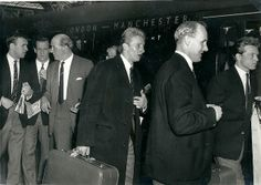 The Manchester United team board the train back to Manchester after beating Leicester City 3 1 in the 1963 FA cup final Golda Meir, Manchester United Images, University Of Dayton, National History, Fa Cup Final, Man United, Old Pictures, American History, Finals