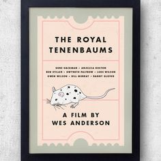 The Royal Tenenbaums Poster, Dalmatian mice, Wes Anderson, Chas, Ben Stiller Wes Anderson, All Poster, Poster Prints, Posters, Cinema Ticket, Anjelica Huston, The Royal Tenenbaums, Ben Stiller, Owen Wilson