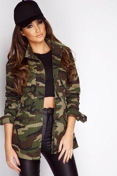 Megan McKenna Khaki Camouflage Military Jacket – Women's fashion Camouflage Jacket Women, Camouflage Fashion, Camo Fashion, Military Fashion, Denim Fashion, Camouflage Outfit, Camo Jacket, Print Jacket, Women's Fashion