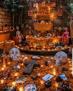 Colorful Mexican altar at day of the dead Fete Halloween, Halloween Decorations, Life Challenge, Mexico Day Of The Dead, Mexican Celebrations, Spanish Projects, Day Of The Dead Party, All Souls Day, Mexican Holiday