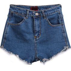 Pockets Fringe Blue Denim Shorts (43 BRL) ❤ liked on Polyvore featuring shorts, bottoms, pants, short, blue, blue short shorts, jean shorts, denim shorts, zipper pocket shorts and blue jean shorts
