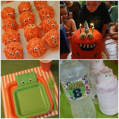 MONSTER BASH BIRTHDAY PARTY (cute monster cake pops without the stick.)  Plates and decorate your own cups, etc.
