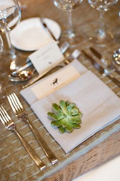 Wedding Details - A single simple succulent at each #placesetting | See the wedding on SMP: http://www.StyleMePretty.com/northwest-weddings/2014/01/16/jackson-hole-wedding-at-hotel-terra/ Carrie Patterson Photography