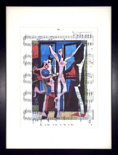 Picasso, Three Dancers, Sheet Music Poster, Chopin Music Print, Book Art, Dorm Room, Wall Decor, Home Staging