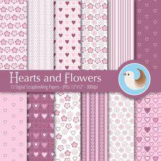 Valentine's Day Digital Paper  Pink and Plum by CinnamonDove