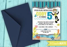 Scuba Diver - Birthday invitation - Boy's Birthday Party theme - Scuba Diving - Ocean - Pool Party - DIY Printable invitation digital file - personalized for you - printed invitations - with or without photo - crab - seahorse - sea - nautical - ocean - beach - boy birthday party - Etsy.com