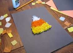 Shape- Triangle. Use white, orange and yellow tissue paper. Do the twisty thing on the pencil eraser like you did in school.