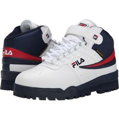 Fila F-13 Weather Tech (White/Fila Navy/Fila Red) Men's Shoes (£27) ❤ liked on Polyvore featuring men's fashion, men's shoes, white, mens red shoes, mens velcro shoes, mens shoes, mens navy shoes and mens leather shoes