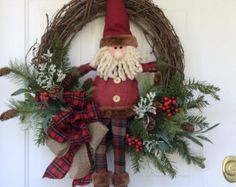 Christmas WreathPinecones and PlaidCountry by KatesKreativeWreaths