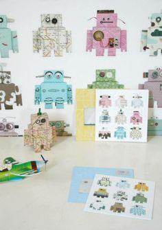 Robot behang Studio Ditte www.kinderbeddengoed.nl
