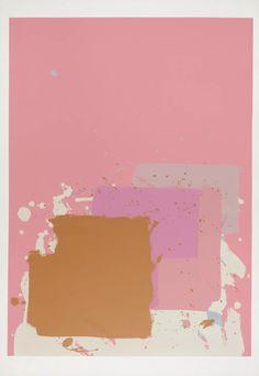 John Hoyland - brown black on pink, 1971
