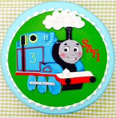 Lady Luck's Cake inspired by Thomas the Tank Engine x Hand Painted Cakes, Thomas The Tank, Cupcake Cakes, Engine, Christmas Ornaments, Inspired, Holiday Decor, Lady, House