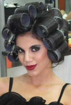 Sexy Steven's girlfriend loved his make up, and she couldn't wait to see his sexy long hair styled into voluminous glamorous curls! She longed to kiss those lovely, soft, lips. Big Hair Rollers, Roller Set, High Roller, Bobe, Permed Hairstyles, Glamour, Smooth Hair, Curlers, Bellisima
