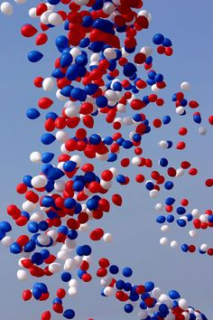 red, white, and blue balloons. not environmentally friendly, but so awesome.