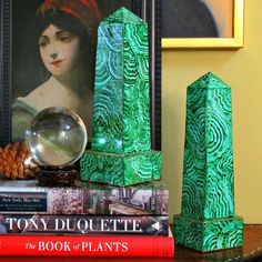 Mark Montano: Faux Malachite Obelisks (made from cardboard)