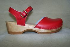 Mary Jane Clogs - Red Leather - Size 39 - Closeout
