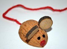 Eine Maus aus einer Walnuss basteln