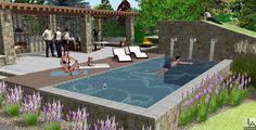 Kompleks wypoczynkowy z basenem i dużą altaną.