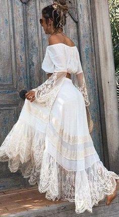 #spellandthegypsycollective #boho #outfits |  Off the Shoulder Boho Gown