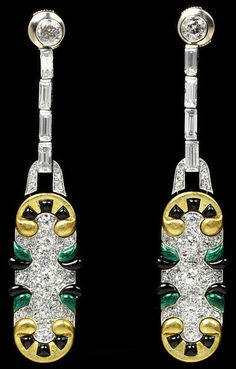 Diamond and Enamel Earrings by Chaumet 1920