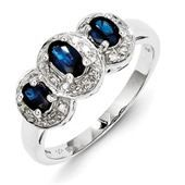 Blue Sapphire & Diamond 3 Stone Ring