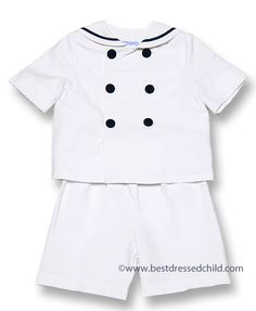 Gordon & Co. Boys Pique Sailor Suit Shorts Set - White with Single Navy Stripe - up to size 7
