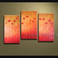 Astonishing Wall Decorating Ideas Hand Painted Oil Painting Stretched Ready To Hang Tulip Flower. This 3 panels canvas wall art is hand painted by Bo Yi Art Studio, instock - $125. To see more, visit OilPaintingShops.com