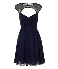 Look what I found on #zulily! Navy Embellished Cap-Sleeve Dress by Little Mistress #zulilyfinds