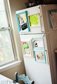 Easy & Inexpensive DIY Fridge Makeover! Turn that surface into something fun to look at!  Magnetic Frames- genius!