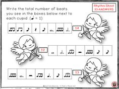 Valentine's Day Rhythm Activities - Valentine's Day Rhythm Activities - 36 rhythm worksheets.   ♫ The student is asked to count the number of beats in the boxes and write the answer on a VALENTINE'S DAY related image.   ♫ CLICK through to see more or save for later!  ♫