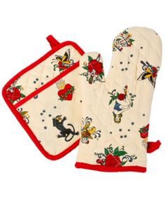 Tattoo Oven and Mitt Potholder Set by Sin In Linen