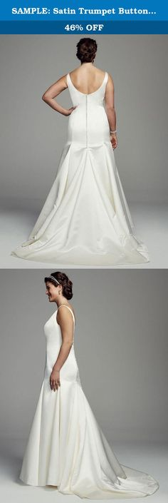 SAMPLE: Satin Trumpet Button Back Plus Size Wedding Dress Style AI13012705,. Ultra glamorous and sophisticated, this breathtaking satin trumpet wedding dress is the epitome of style! Sample Sale gowns are only available online (not available in stores). Sample Sale gowns contain imperfections such as tears in the lining or tulle, or imperfect seams in the skirt, etc. Specific imperfections are not visible in the photograph shown which is representative of the style and design, not the...