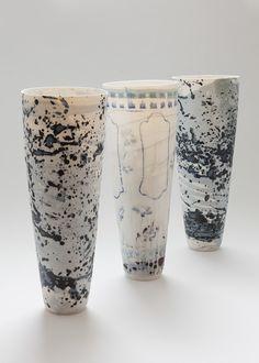 back and white - vases - ceramic - Katherine Glenday Ceramic Clay, Porcelain Ceramics, Ceramic Pottery, Pottery Art, White Ceramics, Slab Pottery, Pottery Studio, Ceramic Bowls, Earthenware