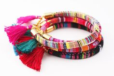 Tassel Bracelet Rope Bracelet Wrap Bracelet Boho by feltlikepaper