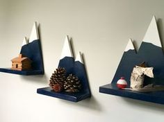 Set of 3 Small Mountain Wall Shelf by LandingsByNikki on Etsy https://www.etsy.com/listing/247606369/set-of-3-small-mountain-wall-shelf