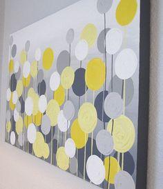 Gelb und grau texturierte Blume Kunst große von MurrayDesignShop